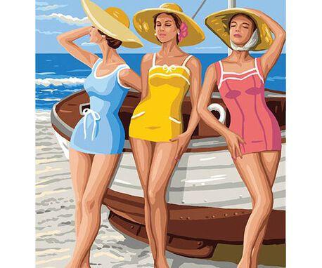 Obrazek do haftu francuski marki Royal Paris ze wzorem kobiet na plaży/