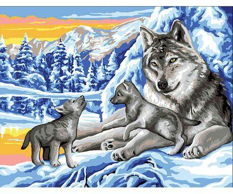 Obrazek do wyhaftowania z wilkami. Marka Royal Paris.