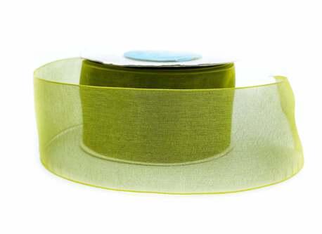 Dekoracyjna tasiemka z szyfonu w odcieniu zgniłej zieleni.