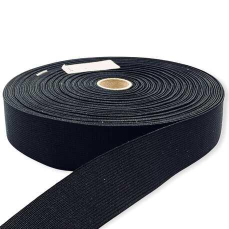 Czarna guma tkana płaska o szerokości 30mm