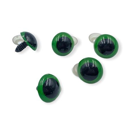 Oczy plastikowe bezpieczne w kolorze zielonym o średnicy 20mm
