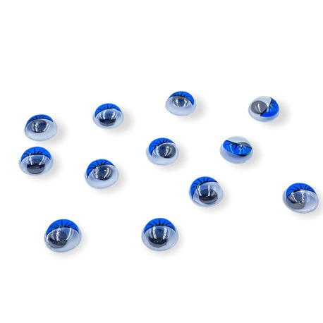 Niebieskie oczy ruchome z rzęsami do naklejenia w maskotkach