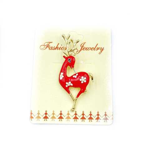 Broszka świąteczna renifer czerwony ZB 135 (1)