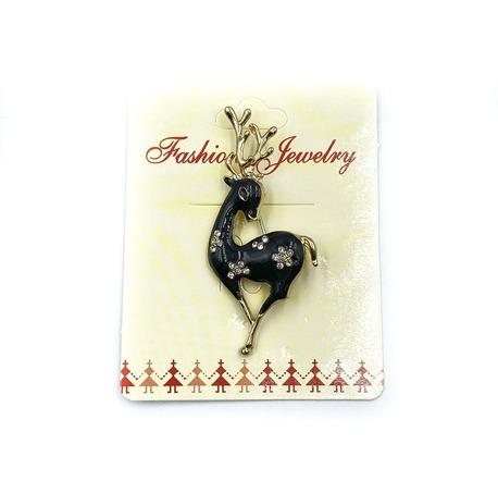Broszka świąteczna renifer czarny ZB 135 (1)