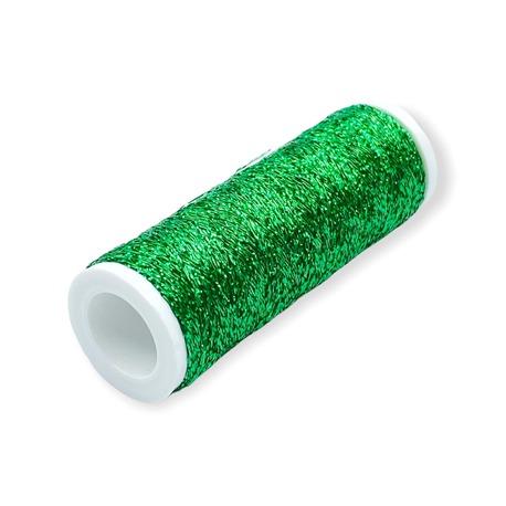 Metalizowane nici w szpulce w kolorze zielonym
