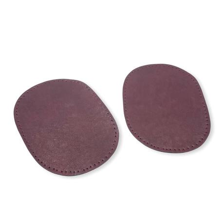 Łaty skórzane do naszycia na ubranie w kolorze śliwkowym.
