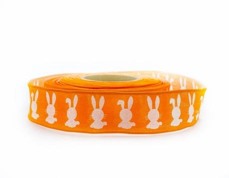 Wstążka szyfonowa pomarańczowa zające 2,5cm (1)