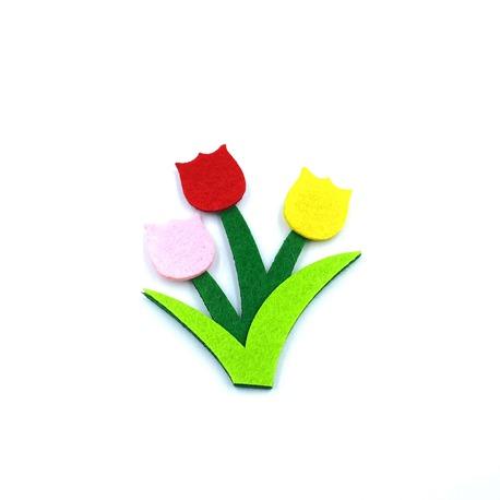 Naszywka z filcu kwiatki kolorowe termo