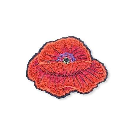 Naszywka kwiat maku czerwony termoprzylepna