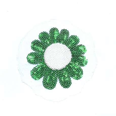 Kwiat cekinowy w kolorze zielonym na koszulkę czy sukienkę