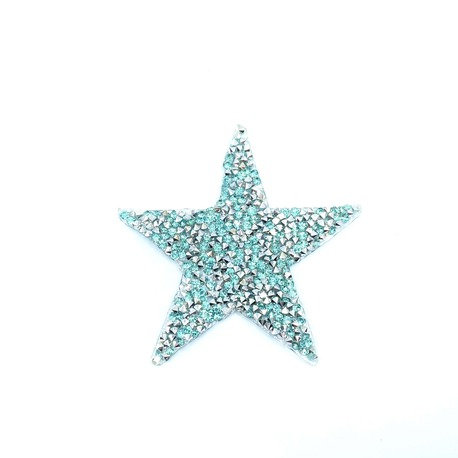 Gwiazdka ozdobna z dżetami na ubranie w kolorze błękitnym i srebrnym