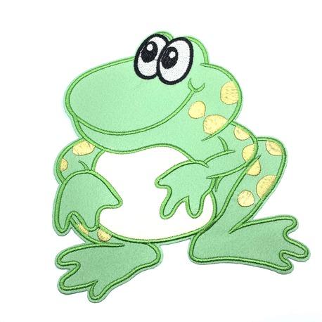 Duża aplikacja do naszycia - wzór zielona żaba