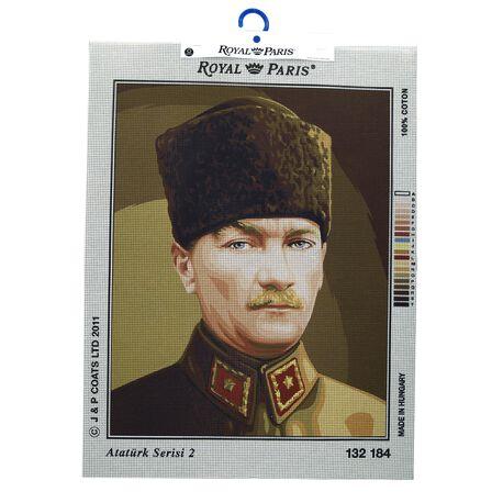 Kanwa z portretem Ataturk do wyszycia mulinami.