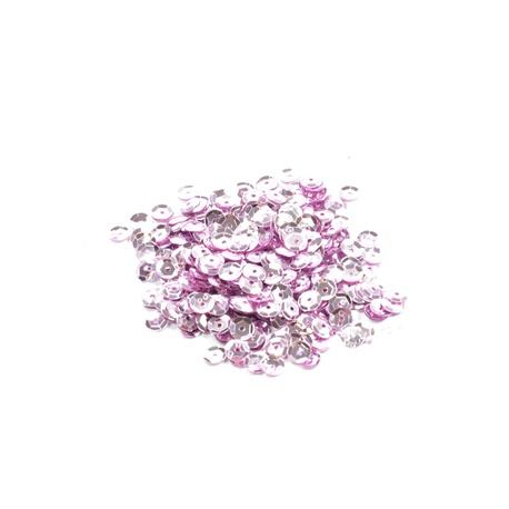 Cekiny ozdobne w kolorze jasnym różowym, doskonałe do tworzenia ozdób i naklejania na ubrania.