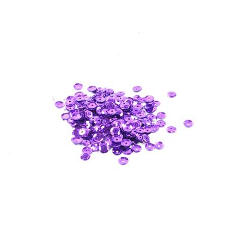 Cekiny ozdobne w kolorze fioletowym, doskonałe do tworzenia ozdób i naklejania na styropian oraz ubrania.