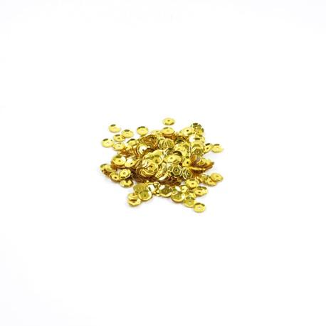 Cekiny ozdobne w kolorze złotym, doskonałe do tworzenia ozdób i naklejania na styropian oraz ubrania.