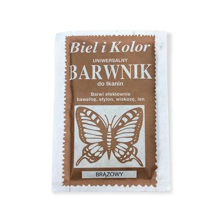 Barwnik Biel i Kolor w kolorze brązowym do barwienia tkanin bawełnianych, lnianych czy wiskozowych.