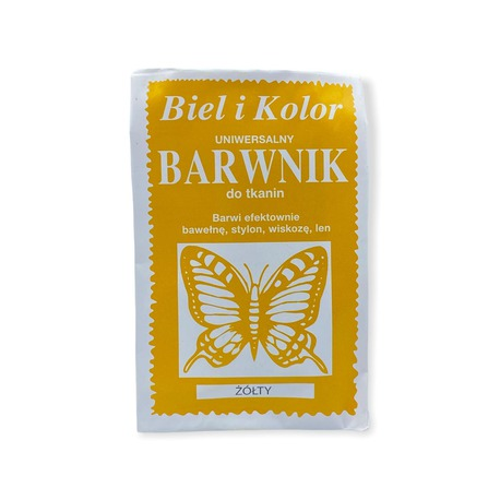 Barwnik do tkanin w kolorze żółtym, efektywnie barwi każdy materiał.