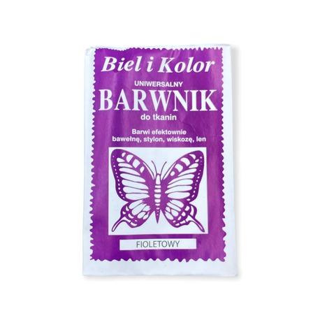 Fioletowy barwnik do tkanin Biel i kolor - doskonale farbuje dowolne materiały o różnych właściwościach.