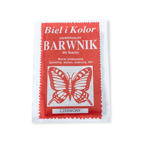 Barwnik do tkanin Biel i Kolor czerwony 10g (1)