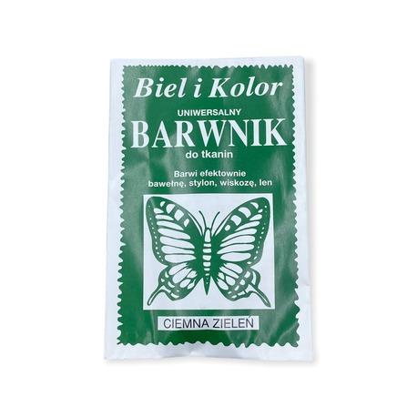 Barwnik do tkanin Biel i Kolor w ciemno-zielonym odcieniu do farbowania odzieży.