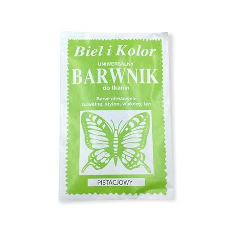 Pistacjowy barwnik Biel i Kolor do tkanin takich jak bawełna, wiskoza, len i inne. Tkaniny można farbować ręcznie lub w pralce.