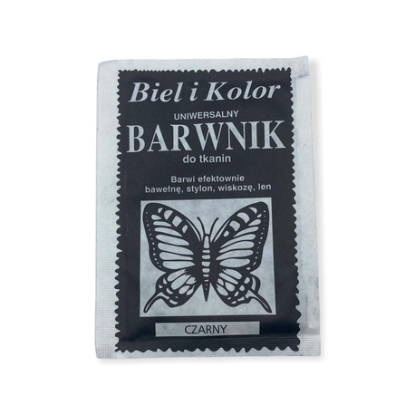 Biel i Kolor to barwnik dobrej jakości o zawartości 10g detergentów do farbowania tkanin. Kolor czarny.