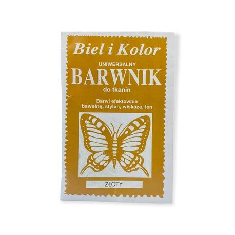 Biel i Kolor to barwnik dobrej jakości o zawartości 10g detergentów do farbowania tkanin. Kolor złoty.