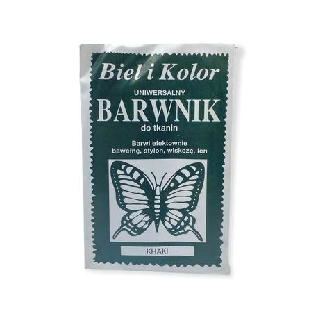 Biel i Kolor to barwnik dobrej jakości o zawartości 10g detergentów do farbowania tkanin. Kolor khaki.