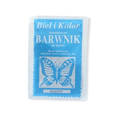 Biel i Kolor to barwnik dobrej jakości o zawartości 10g detergentów do farbowania tkanin. Kolor błękitny.