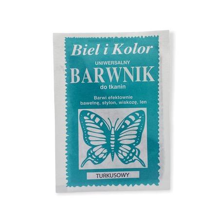 Barwnik do tkanin Biel i kolor turkusowy do farbowania odzieży i wielu materiałów.