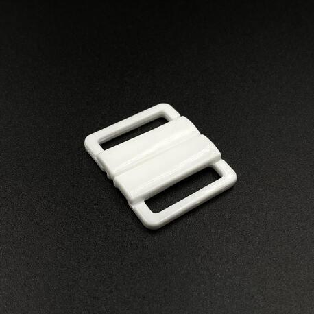 Zapięcie bieliźniane, plastikowe białe 20mm do stroju kąpielowych i staników.