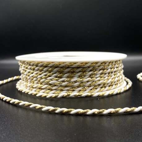 Sznurek metalizowany skręcany do dekoracji i odzieży, czeskiej produkcji. Grubość sznurka 3,5mm.