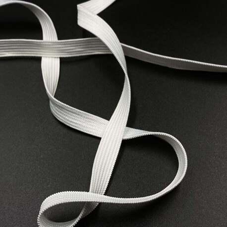 Guma biała płaska dziana wykorzystywana w przemyśle odzieżowym i pasmanterii - szerokość 10mm