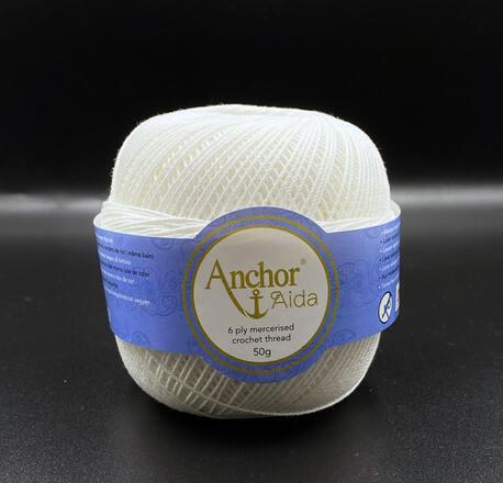 Kordonek bawełniany Anchor Aida w kolorze białym 0001