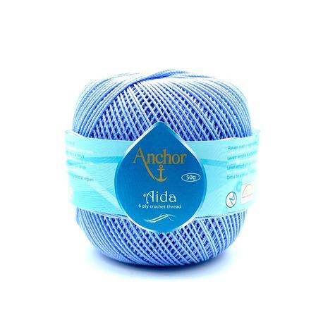 Kordonek Aida o grubości 5 w kolorze jasno-niebieskim. Doskonała nić bawełniana do rękodzieła na szydełku.