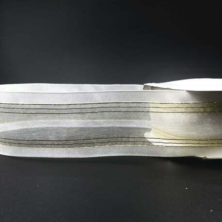 Wstążka ozdobna - dekoracyjna szyfonowa w kolorze białym i złotym,