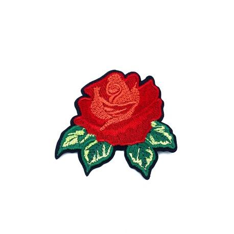 Aplikacja róża czerwona z listkiem - piękna aplikacje na dziewczęcą bluzkę.