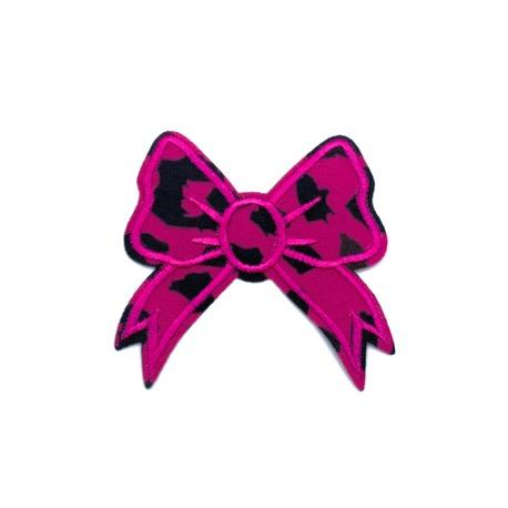 Kokardka ozdobna - naszywka termoprzylepna na odzież w kolorze różowo-czarnym.