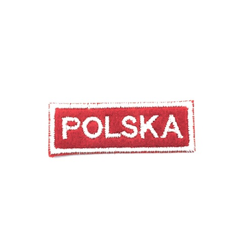 Aplikacja czerwona, narodowa z napisem Polska - bardzo łatwa w naprasowaniu.