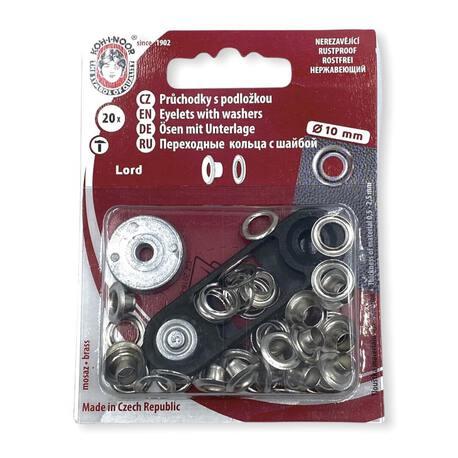 Oczka kaletnicze w kolorze niklowanym. Używane do wyrobów włókienniczych - średnica 10mm.