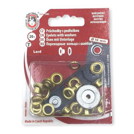 Oczka kaletnicze w kolorze złotym. Używane do wyrobów włókienniczych - średnica 10mm.