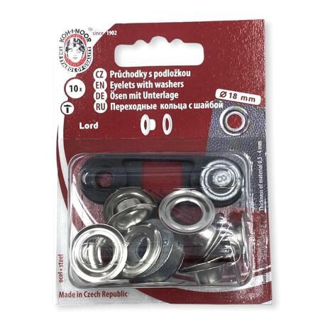 Metalowe oczka kaletnicze do wyrobów takich jak torebki, torby, plecaki i inne. Średnica 18mm w kolorze srebrnym.