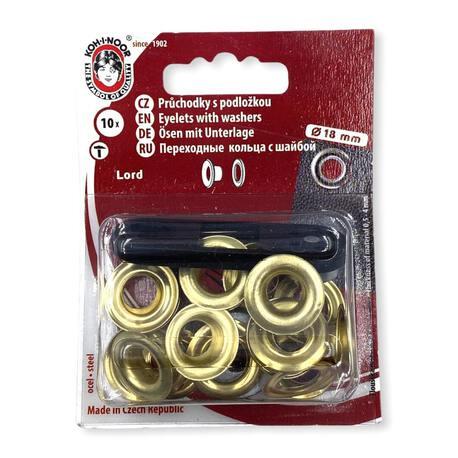 Metalowe oczka kaletnicze do wyrobów takich jak torebki, torby, plecaki i inne. Średnica 18mm w kolorze złotym.