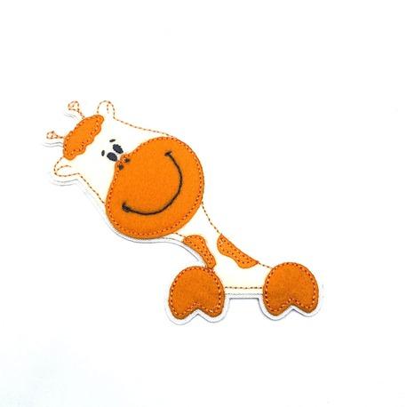 Dziecięca aplikacja w kolorze pomarańczowym i ecru - wzór żyrafy.