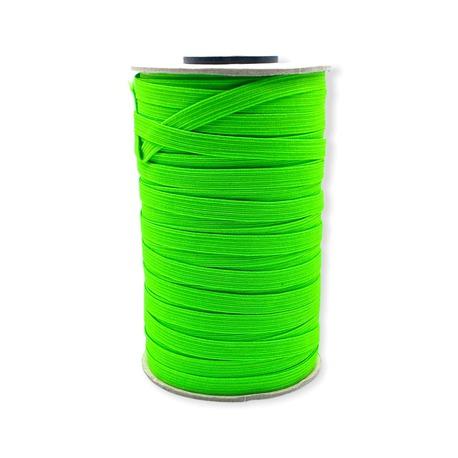 Guma kolorowa płaska w kolorze zielonym fluorescencyjnym - szerokość 7mm.