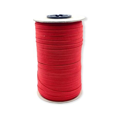 Guma pleciona, obszywkowa w kolorze czerwonym, wykorzystywana często w bieliźnie.