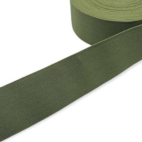 Tkana guma odzieżowa - twarda taśma elastyczna w kolorze khaki.