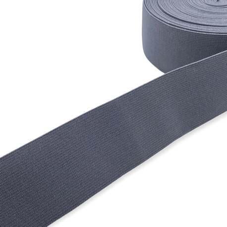 Tkana guma odzieżowa - twarda taśma elastyczna w kolorze grafitowym.