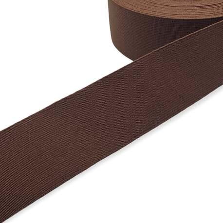 Tkana guma odzieżowa - twarda taśma elastyczna w kolorze brązowym.